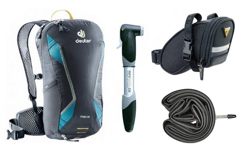 Kolesarski nahrbtnik, tlačilka, zračnica in torbica